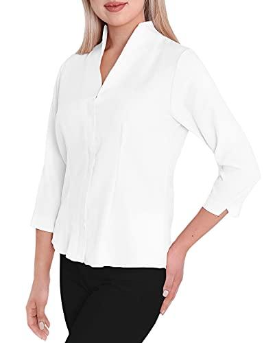 HEVENTON Damen-Bluse mit Kelchkragen Hemd-Bluse Stehkragen bgelleicht Business 3/4 rmel 1205 Color Wei, Size 44