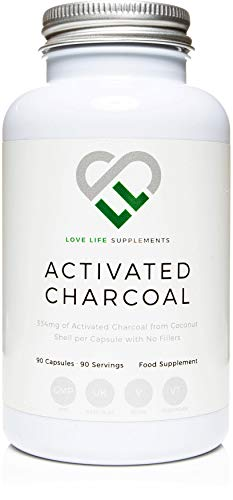 Aktivkohle von LLS | 90 Kapseln - 3 Monate-Versorgung | 334 mg pro Kapsel | Pure Fill - 100% Kokoskohle - Keine Füllstoffe Keine Antibackmittel | Geeignet für Vegetarier und Veganer