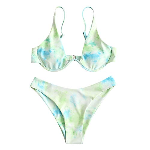 ZAFUL Damen Zweiteiliger Bügel Bikini-Set, Leopardenmuster Criss Cross Push Up High-Cut Gepolsterte Bikini Badeanzug (Mintgrün, M)