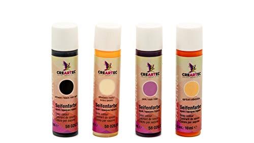 CREARTEC 4er Set Seifenfarben - Sortiment 4 x 10ml Opakfarben Set - Schwarz, Pink, Elfenbein, Apricot - für die individuelle Seifenherstellung - Made in Germany