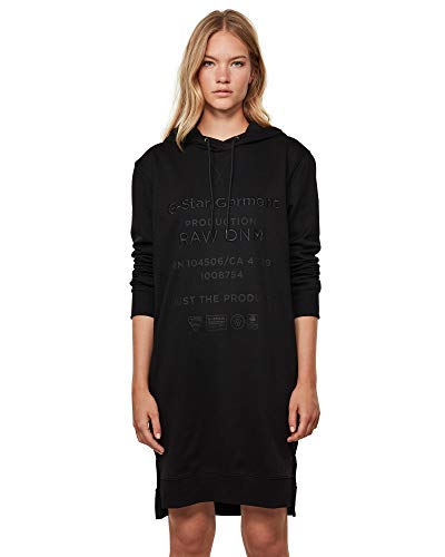 G-STAR RAW Damen Casual Dress Graphic Text Boyfriend Hooded, Dk Black A613-6484, Medium