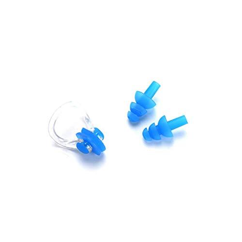 PRENKIN Silikon Schwimmen-Nasen-Klipp mit Ohr-Stecker-Set Silikon-Nase für Schwimmen oder Anderen Wassersport