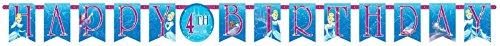 "Disney Cinderella Customizable Birthday Party Banner Decoration (1 Piece), Blue, 10 1/2' x 10""."