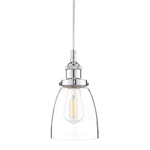 Fiorentino Chrome Pendant Light – w/Clear Glass Shade - Linea di Liara LL-P281-PC