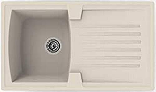 Respekta BOSTON86X50B - Lavello incasso con gocciolatoio, Per lavelli da 45 cm, Beige sabbia, 86 cm