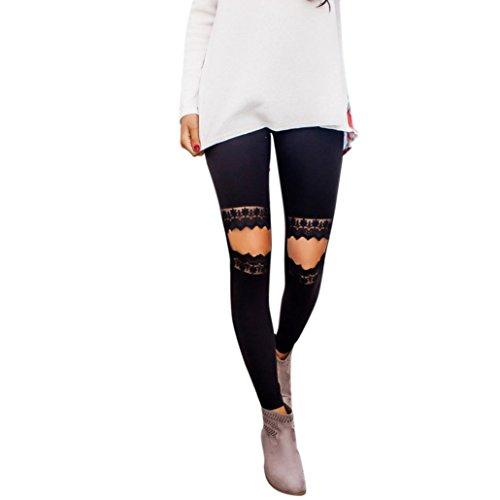 Leggings Damen Kolylong® Frauen Elegant Spitze Hosen mit löchern Hohe Taille Stretchy Hosen Enge Leggings Slim Bleistifthose Fitness Yoga Sport Hosen Pants (S, Schwarz)