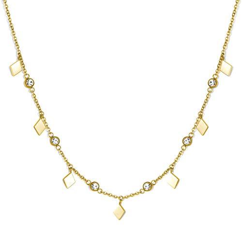 Urbanhelden - Halskette Für Damen I Choker-Kette Mit Kristall-Anhängern I Eleganter Schmuck Aus Edelstahl I Gold