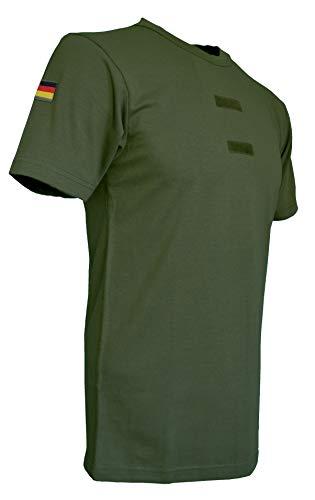 Bundeswehr Tropen T-Shirt mit Deutschlandfahnen und Klettstreifen in, schwarz, Oliv und Coyote (7, Oliv)