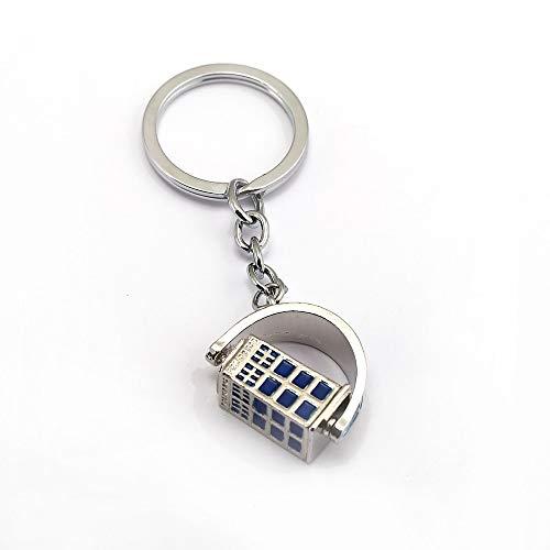 MINTUAN Schlüsselbund Schlüsselring Doctor Who Keychain Drehbare Tardis Schlüsselanhänger Halter Metall Mode Autotasche Chaveiro Schlüsselanhänger Anhänger Film Schmuck