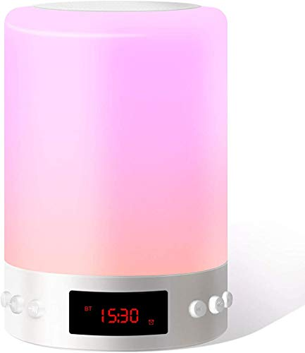 Altavoz bluetooth con luz nocturna, lámpara de mesa táctil LED con luz nocturna portátil, despertador con atenuación de luz nocturna