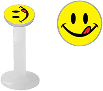 Smile w/ Tongue logo smiley face Flex Flexible Bioplastic Labret Monroe lip tragus piercing bar body jewelry Ring 16g, 16 gauge