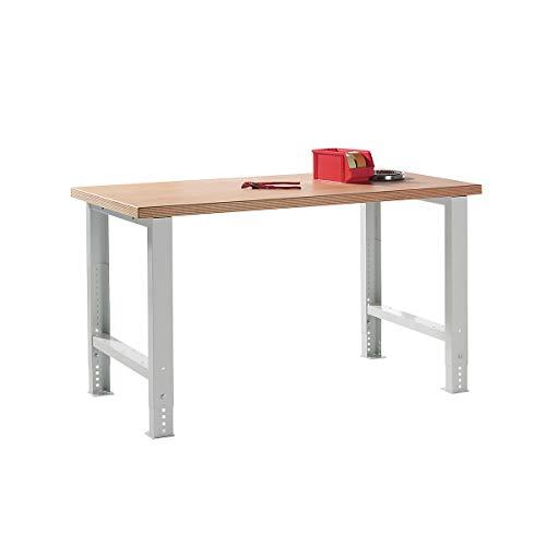 Lista Werkbank komplett, Buche-Multiplex-Arbeitsplatte - Höhe 740 – 1090 mm, ohne Unterbauten - Breite 1500 mm - Arbeitstisch Werkbank Werkstattsystem Werktisch