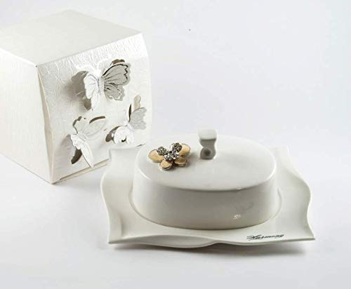 Harmony Lote de 12 bomboneras de porcelana con mariposa, incluye caja, tamaño 18 x 14 x 8 cm (hmprmt333pb)