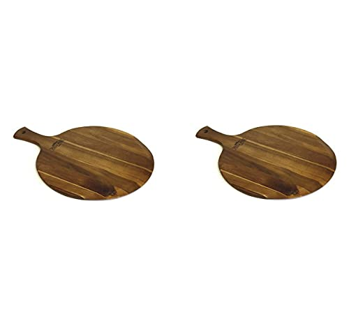 Mountain Woods Brown Large Acacia Wood Pizza Peel/Cutting Board/Serving Tray   Paddle Serving Boards with Handle for Pizzas Bread Baking, Fruits, Vegetables, Cheese - 21.25' x 16' x 0.625' (Two Pack)