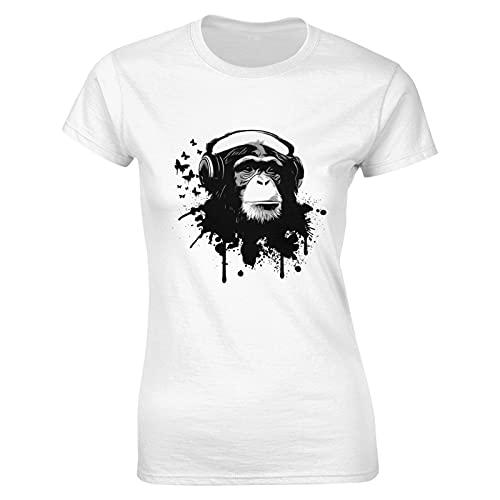 Hirola Liuqy Monkey - Camiseta para mujer, diseño de mono, blanco, S