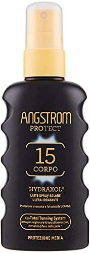 Angstrom Protect Latte Solare in Formato Spray, Protezione Solare Corpo 15+ con Azione Ultra Idratante e Duratura, Indicata per Pelli Sensibili, 175 ml
