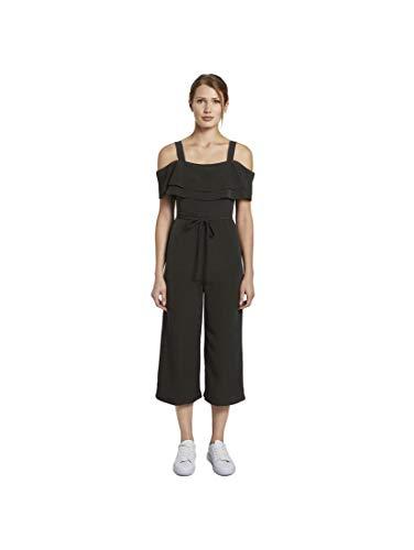 TOM TAILOR Damen Overalls & Jumpsuits Schulterfreier Carmen-Jumpsuit mit weitem Bein Deep Black,38