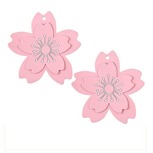 Flashing 2 piezas de posavasos de doble capa con aislamiento de flores mantel individual de PVC para vajilla de comedor alfombrilla antideslizante Sakura Cup posavasos para mesa de comedor almohadilla