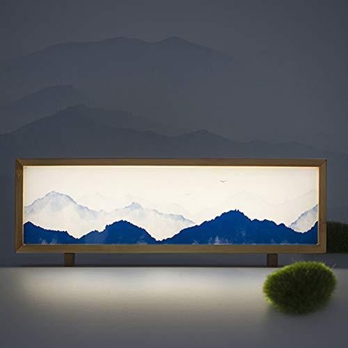 SUNA Lampe De Table à LED, Veilleuse à Led En Bambou, Boîte à Lumière De Chevet Design Créatif Littéraire Lampe De Table