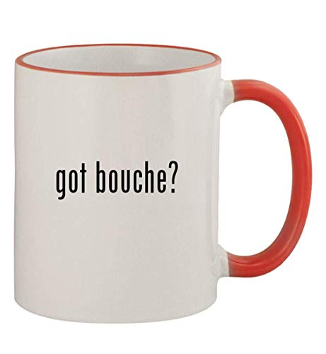 got bouche? - 11oz Colored Handle and Rim Coffee Mug, Red