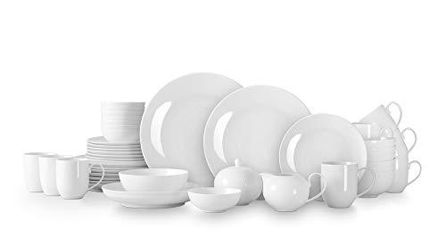 HomeVss, Bone China Coupe Shape, Elegance White 45pc Dinnerware Set