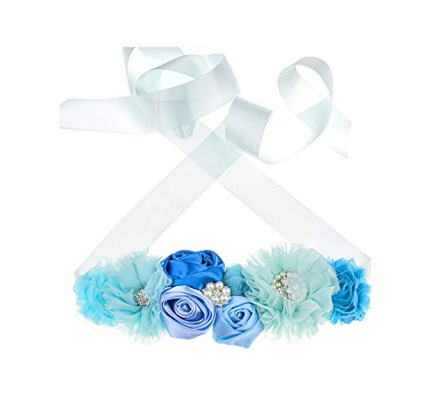 Floral Fall Flower Maternity Pregnancy Sash Baby Shower Gift Photo Prop Girls Bridal Rhinestone Belt SH-19 (Sky Blue)
