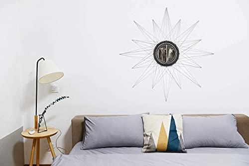8around -DIY Manualidad hilorama.String art. Kit espejo decorativo pared plata en forma de sol de hilo tensado paso a paso con plantillas y material necesario.Medidas totales montado 93x93 centimetros