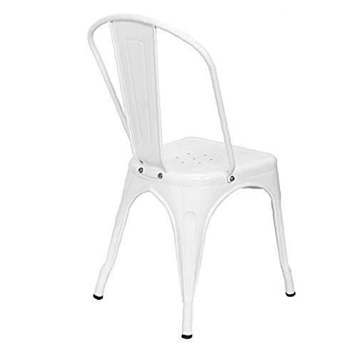 Yililay Industrial Style Iron Sheet Chair, 4pcs White Dining Chair Vintage Bistro Kitchen Cafe Chairs Outdoor & Indoor Classic Stool Sets.