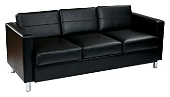 OSP Home Furnishings Pacific Vinyl Sofa Couch with Spring Seats and Silver Metal Legs Black