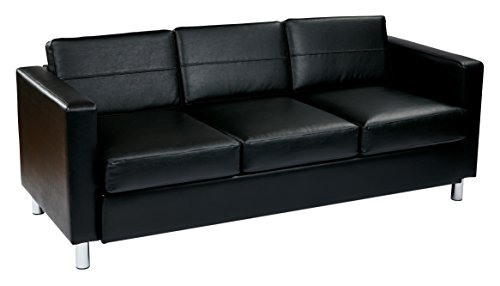 OSP Home Furnishings Pacific Vinyl Sofa Couch with Spring Seats and Silver Metal Legs, Black