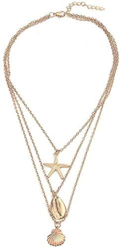 ZPPYMXGZ Co.,ltd Collar de Moda Color Dorado Océano Estrella de mar Concha Concha Cadena Larga Collares Colgantes para Mujeres Joyería DIY