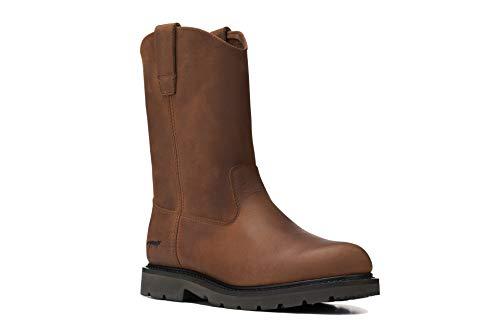 12' Wellington 1224 Pull On Leather Wellington Work Boot Lightweight Farming Ranching Construction (13 D, Fudge)