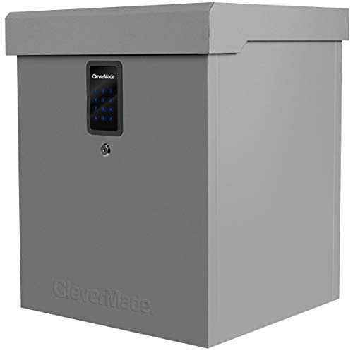 CleverMade Parcel LockBox S100 Series: Secure Package Delivery Box with Reinforced Steel Construction, Digital Lock and Ground Anchoring System for Online Shopping Deliveries, Grey