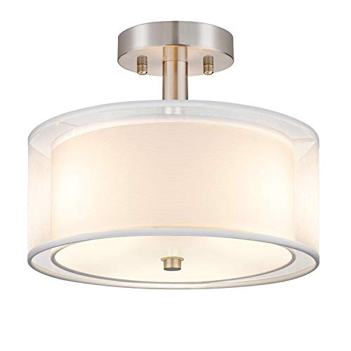 Semi Flush Mount Ceiling Light Fixture, 3-Light Drum Light with Double Fabric Shade, Modern Close to Ceiling Lamps for Living Room, Bedroom, Dining Room, Kitchen, Hallway, Entry, Foyer