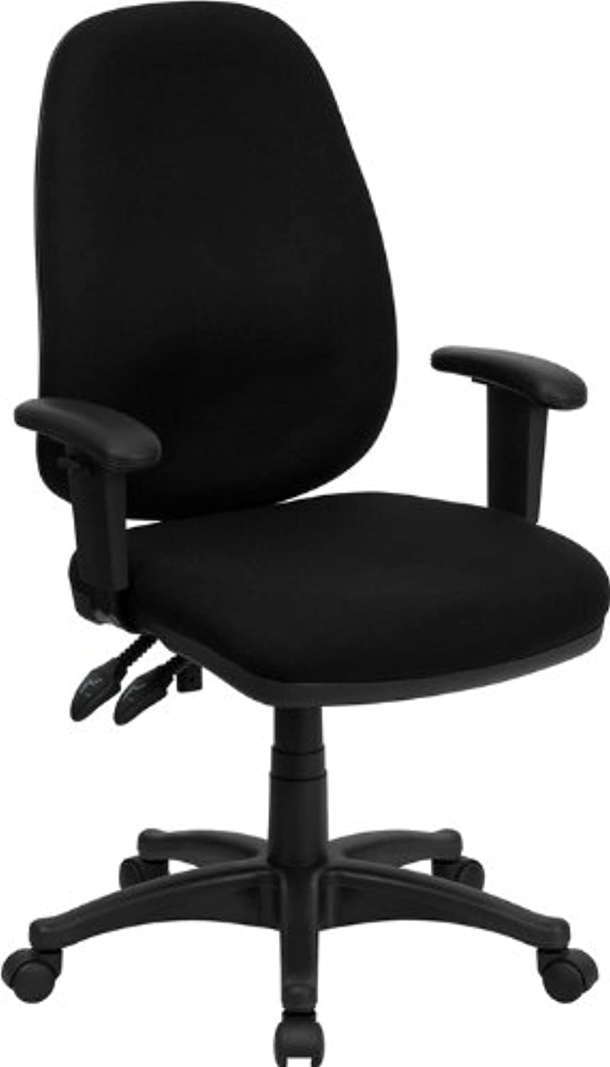Flash Furniture BT-661-BK-GG High Back Black Fabric Ergonomic Computer Chair with Height Adjustable Arms
