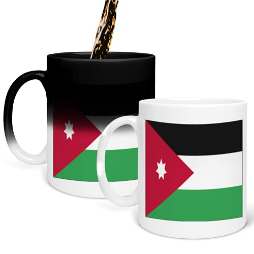 Flag of Jordan Cup Color Changing Mug Magic Heat Changing Coffee Mug - Funny Cup, for Office and Home Use Taza que cambia de color 325ml