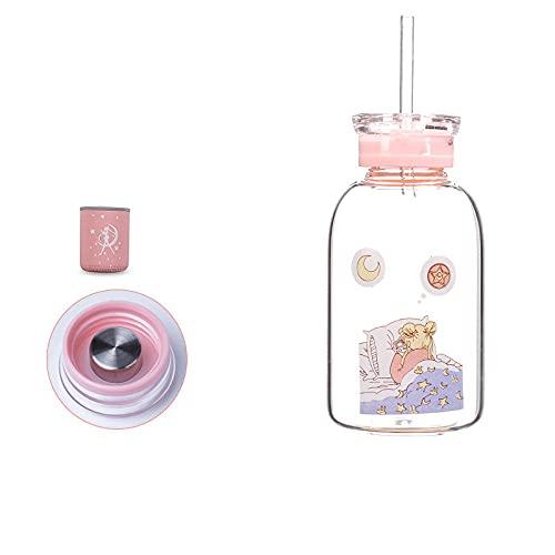 Botella de cristal de Sailor Moon de 450 ml, botella de agua Kawaii, respetuosa con el medio ambiente, con vasos de pajita, vasos para niños, lindos (color: estilo 4)