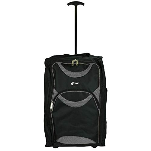 Lightweight Wheeled Cabin Bags, Hand Luggage Trolley Approved for Ryanair, EasyJet, British Airways, Jet2 and More (1 x Black & Grey)