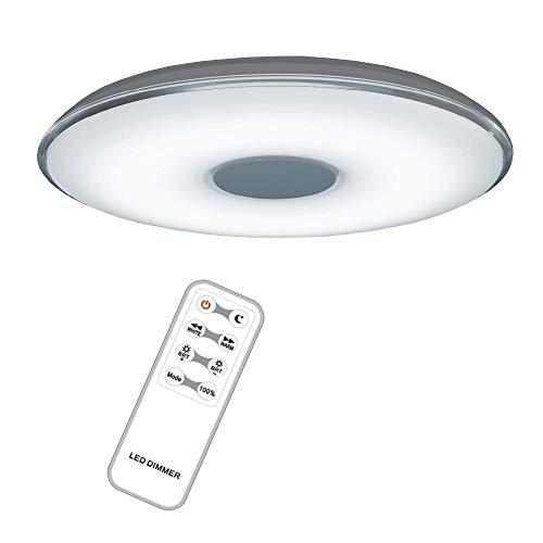 LED-Deckenleuchte dimmbar inkl. Fernbedienung, runde Deckenlampe Ø 60cm Acrylglas, warmweiß – kaltweiß – neutralweiß, Nachtlicht-Modus Fernbedienung + Gratis Taschenlampe