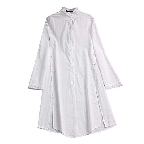 BUKINIE Liquidation T-Shirt Fluide à Manches Longues en Lin et Coton pour Femmes Chemise décontractée à Boutons Ample Robe Tunique Ample (Blanc,XX-Large