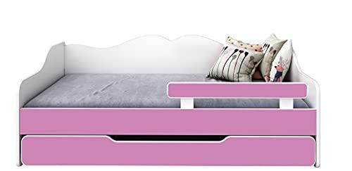 BDW Cama infantil con 2 superficies de descanso y 2 colchones de 160 x 80 cm, color rosa