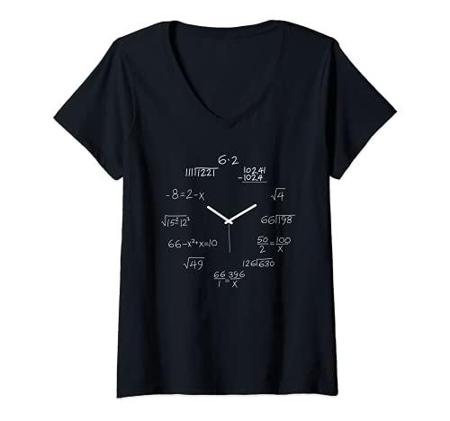 Mujer Ecuaciones matemáticas Reloj Diseño divertido regalo para amantes de las matemáticas Camiseta Cuello V