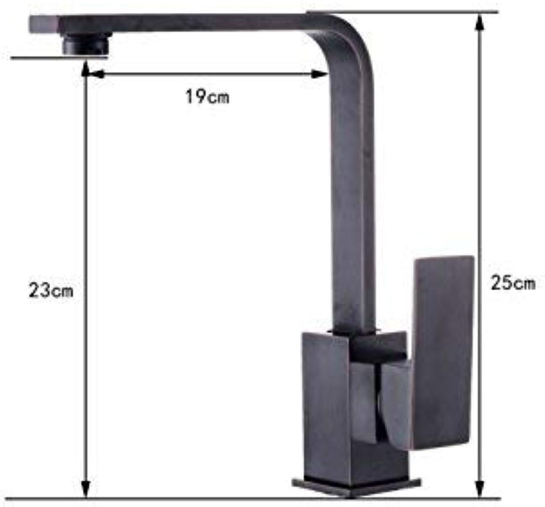 Hjbds schwarz einhand küchenarmatur, waschbecken mit ausziehbarer sprinkler 360 grad drehsprüher moderne einfache kupfer hei und kalt wasser,