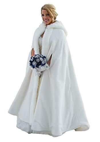 ShineGown Lange Braut Kap Hochzeit Bolero Jacke Hochzeitlich Mäntel mit Kapuze Kunstpelz Winter Warm with Armloch Frei Hand Muff Elfenbein Weiß Elegant