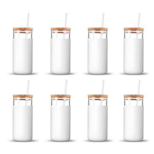 Tronco 20oz Glass Tumbler Straw Silicone Protective Sleeve Bamboo Lid - BPA Free (White/8-Pack)