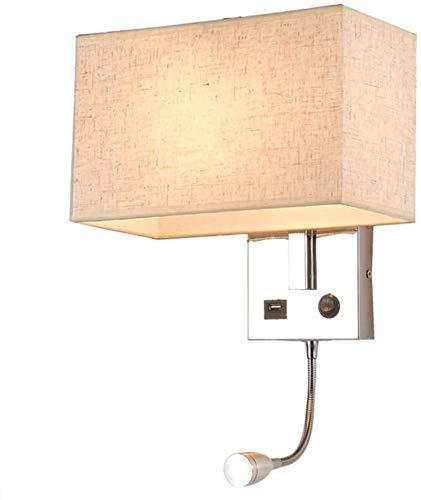Lámparas de pared industriales, Luz de pared moderna cromado rectángulo rectángulo beige amarillo tela con puerto de carga USB LED de lectura LED de lectura de luz de control de la lámpara de pared in