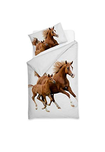 Sognamo Pferde  Horses - Bettwäsche - Baumwolle - 135x200cm  80x80 Farbe Weiss White I Bio I Reißverschluss