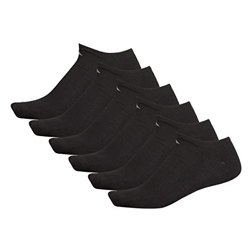 adidas Men's Athletic Cushioned No Show Socks (6-Pair), Black/Aluminum 2, Large, (Shoe Size 6-12)