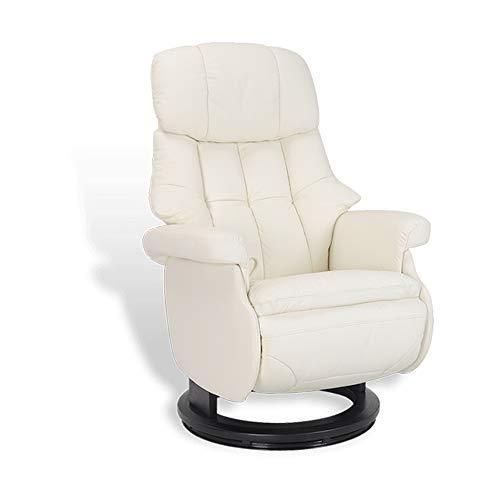 MND MY NEW DESIGN, Sillón de diseño de relajación, Acogedor, Muy cómodo con Pouf Integrado (Blanco, Cuero)