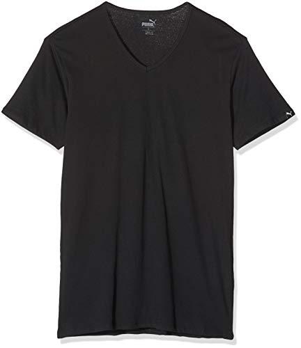PUMA Herren Basic 2p V-Neck T-Shirt, Schwarz (Black 200), X-Large (Herstellergröße: 040) (2er Pack)